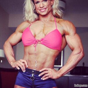 beautiful lady with fitness body and muscle arms pic from reddit