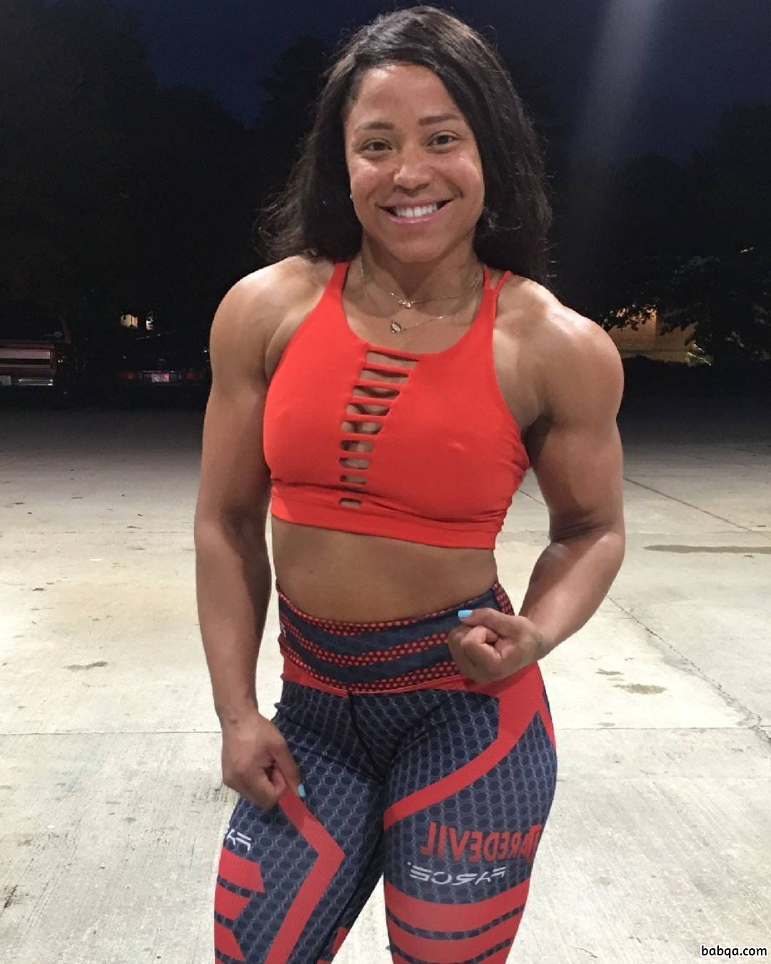 perfect lady with fitness body and muscle legs repost from reddit