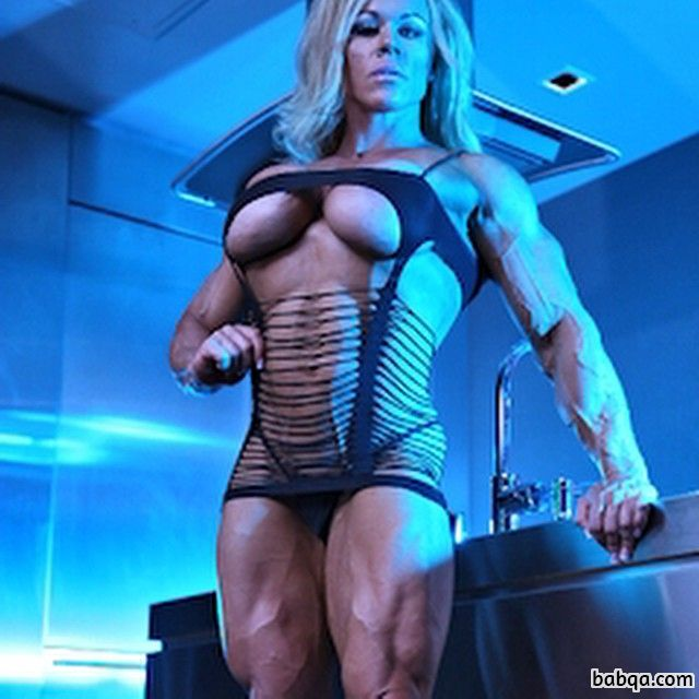 hot chick with muscular body and muscle arms picture from g+