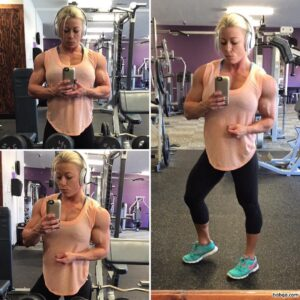 hot female bodybuilder with muscular body and toned bottom image from g+