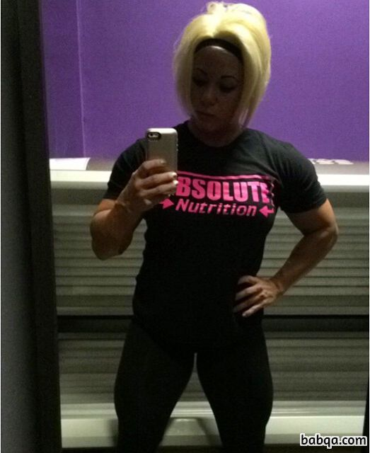 awesome girl with fitness body and muscle arms image from g+