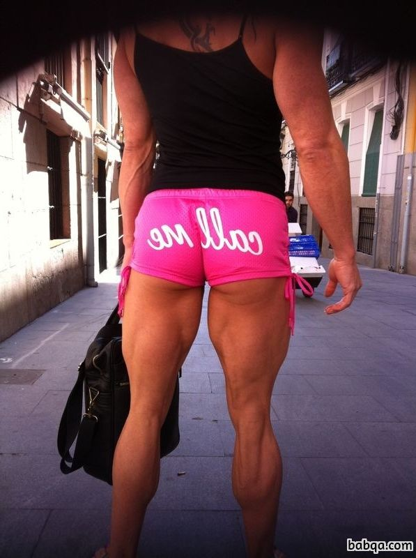 sexy female bodybuilder with fitness body and muscle booty photo from facebook