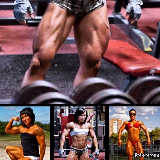 awesome babe with fitness body and muscle biceps picture from g+