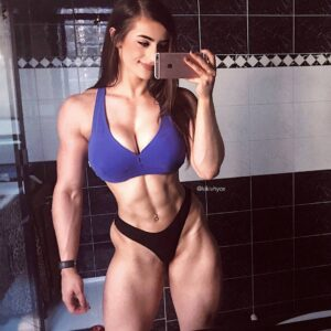 beautiful woman with muscle body and toned arms photo from linkedin