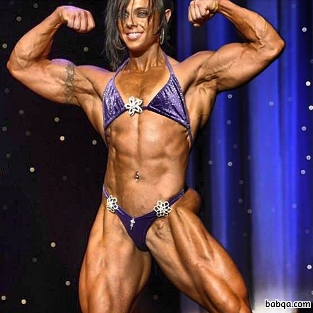 spicy woman with fitness body and muscle biceps image from g+