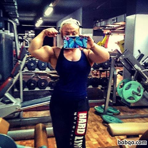 sexy girl with fitness body and toned biceps repost from linkedin