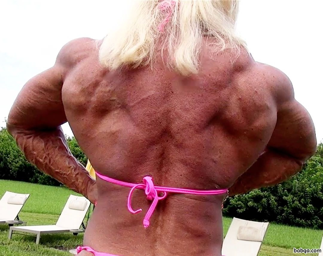 cute female bodybuilder with strong body and muscle arms pic from reddit