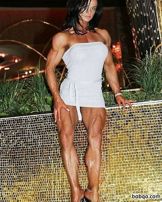 awesome lady with muscular body and muscle booty image from insta