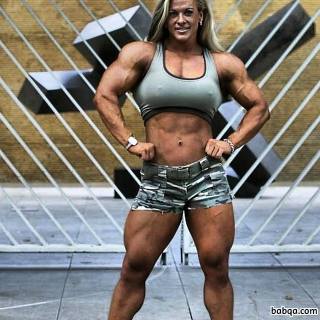 sexy female bodybuilder with fitness body and toned legs post from facebook