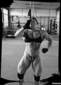 beautiful lady with fitness body and muscle biceps image from linkedin