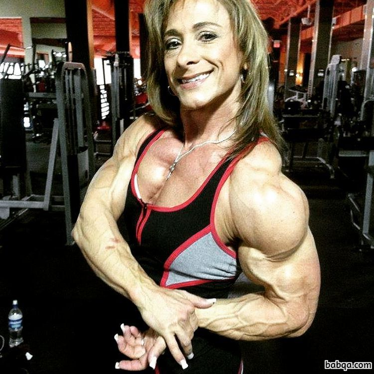 cute girl with muscle body and muscle arms picture from instagram