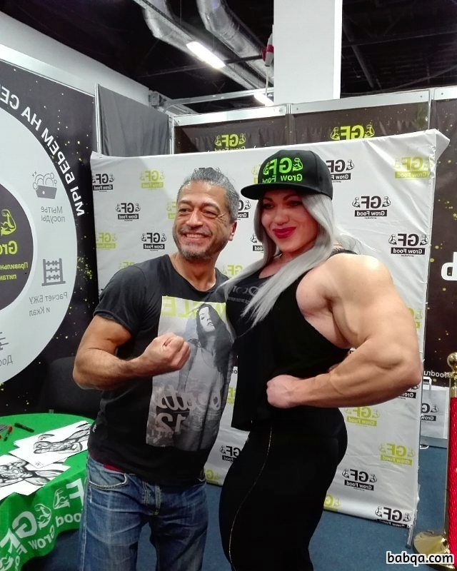 hot female with muscular body and muscle arms photo from linkedin