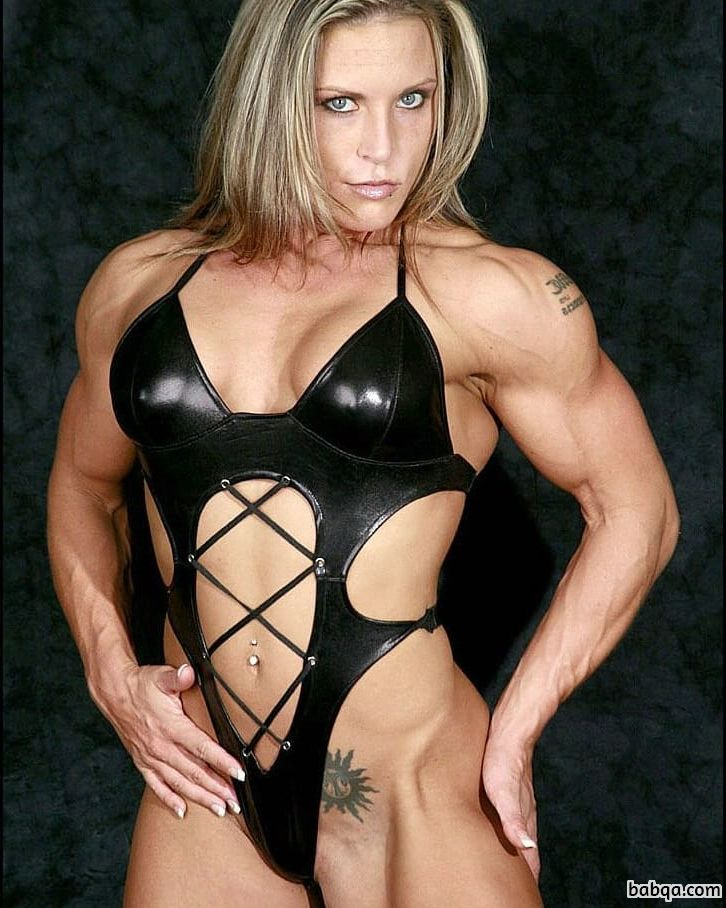 spicy chick with muscular body and muscle biceps post from reddit