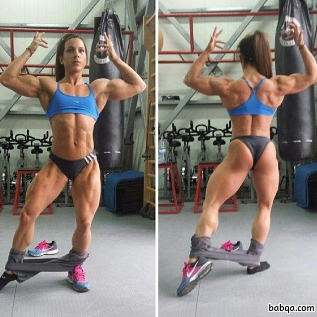 sexy woman with strong body and muscle legs repost from facebook