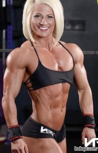 sexy lady with fitness body and muscle arms repost from insta