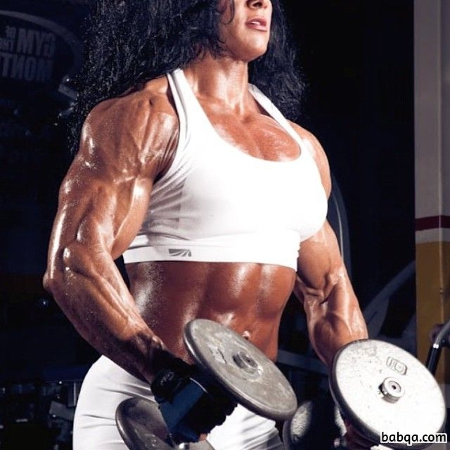 perfect babe with strong body and muscle biceps repost from g+