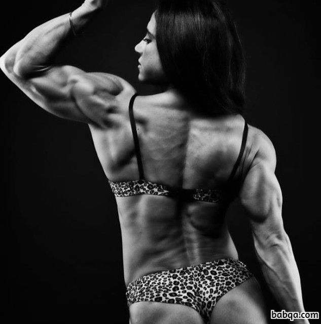 beautiful female with muscular body and toned biceps post from facebook