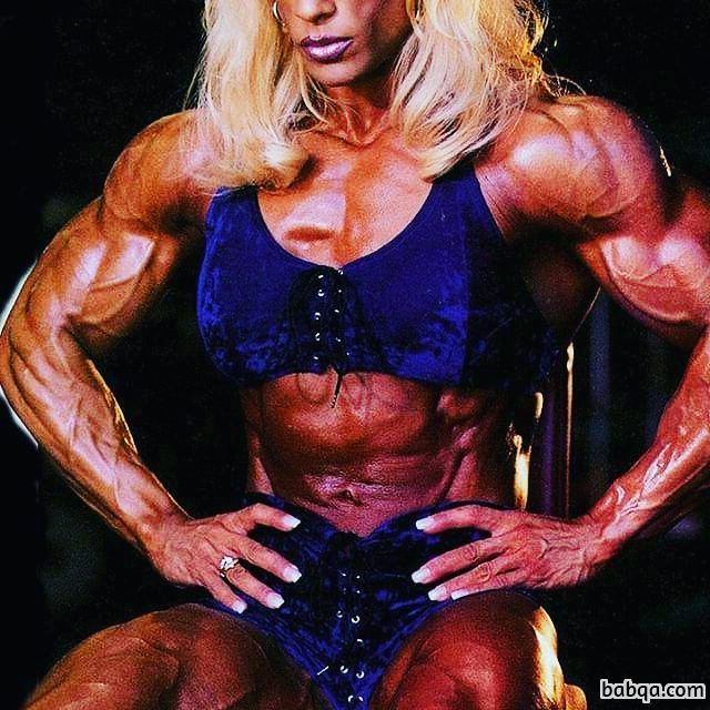 sexy female bodybuilder with strong body and toned legs post from linkedin