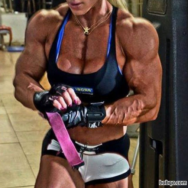 sexy female bodybuilder with strong body and muscle arms image from g+