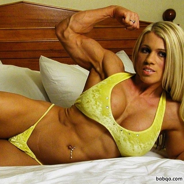 cute chick with muscle body and toned biceps repost from g+