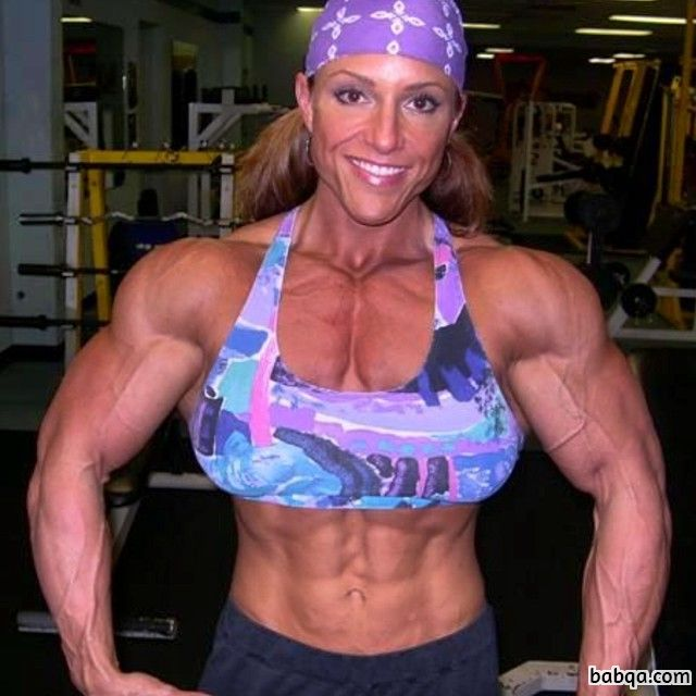awesome lady with muscular body and muscle biceps post from facebook