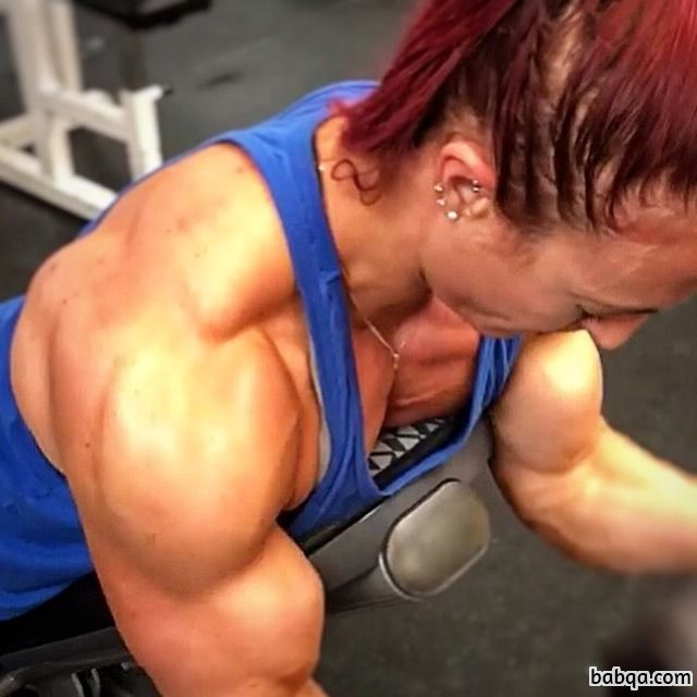hottest lady with muscular body and muscle arms photo from insta