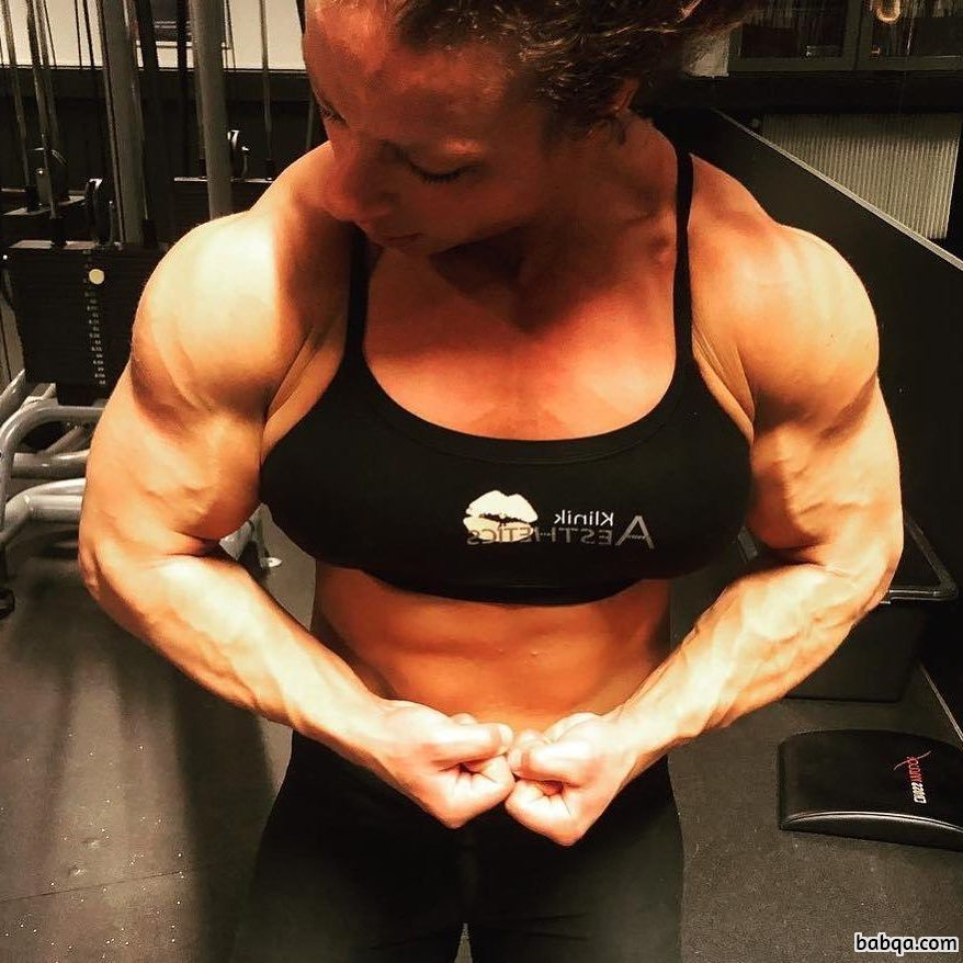 awesome female with fitness body and muscle legs repost from g+