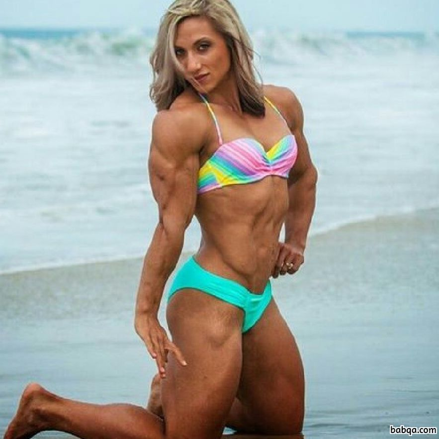 sexy girl with strong body and muscle arms post from instagram