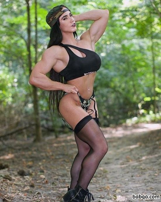 hot woman with muscle body and toned biceps repost from linkedin