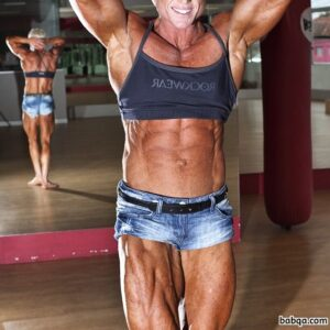 perfect woman with muscular body and muscle biceps picture from linkedin
