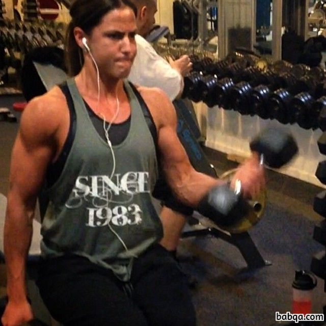 hottest lady with muscle body and toned biceps repost from tumblr