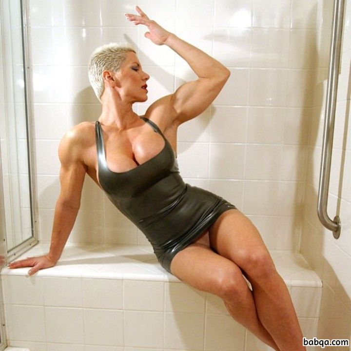 awesome woman with fitness body and muscle arms image from g+