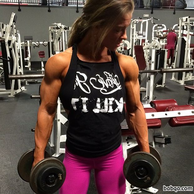 perfect female bodybuilder with strong body and toned biceps image from g+