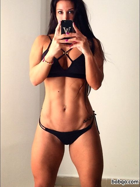 sexy female with muscle body and toned biceps repost from facebook