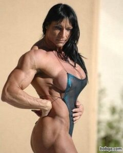 cute female with muscular body and muscle biceps pic from instagram