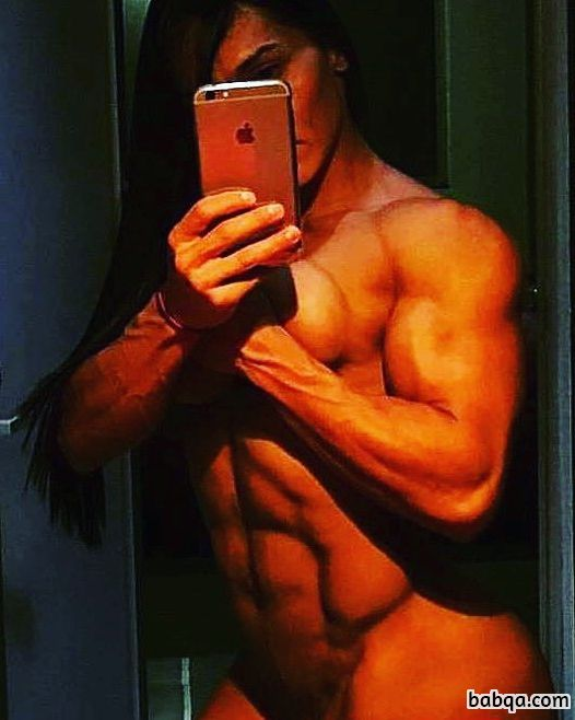 hottest female with fitness body and muscle biceps picture from facebook