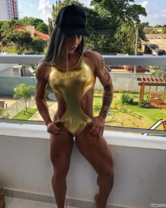 spicy female bodybuilder with fitness body and toned booty post from insta