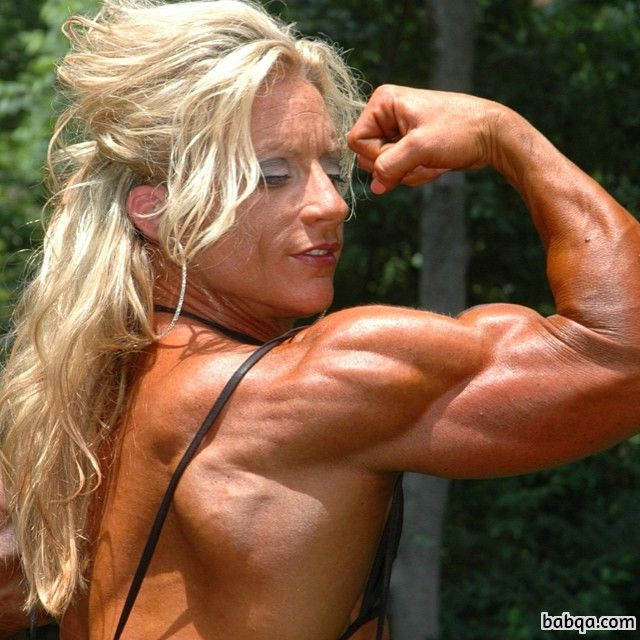 beautiful woman with fitness body and muscle biceps image from linkedin