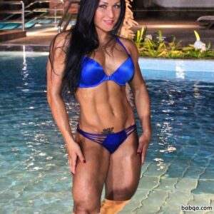 awesome female bodybuilder with fitness body and muscle arms repost from insta