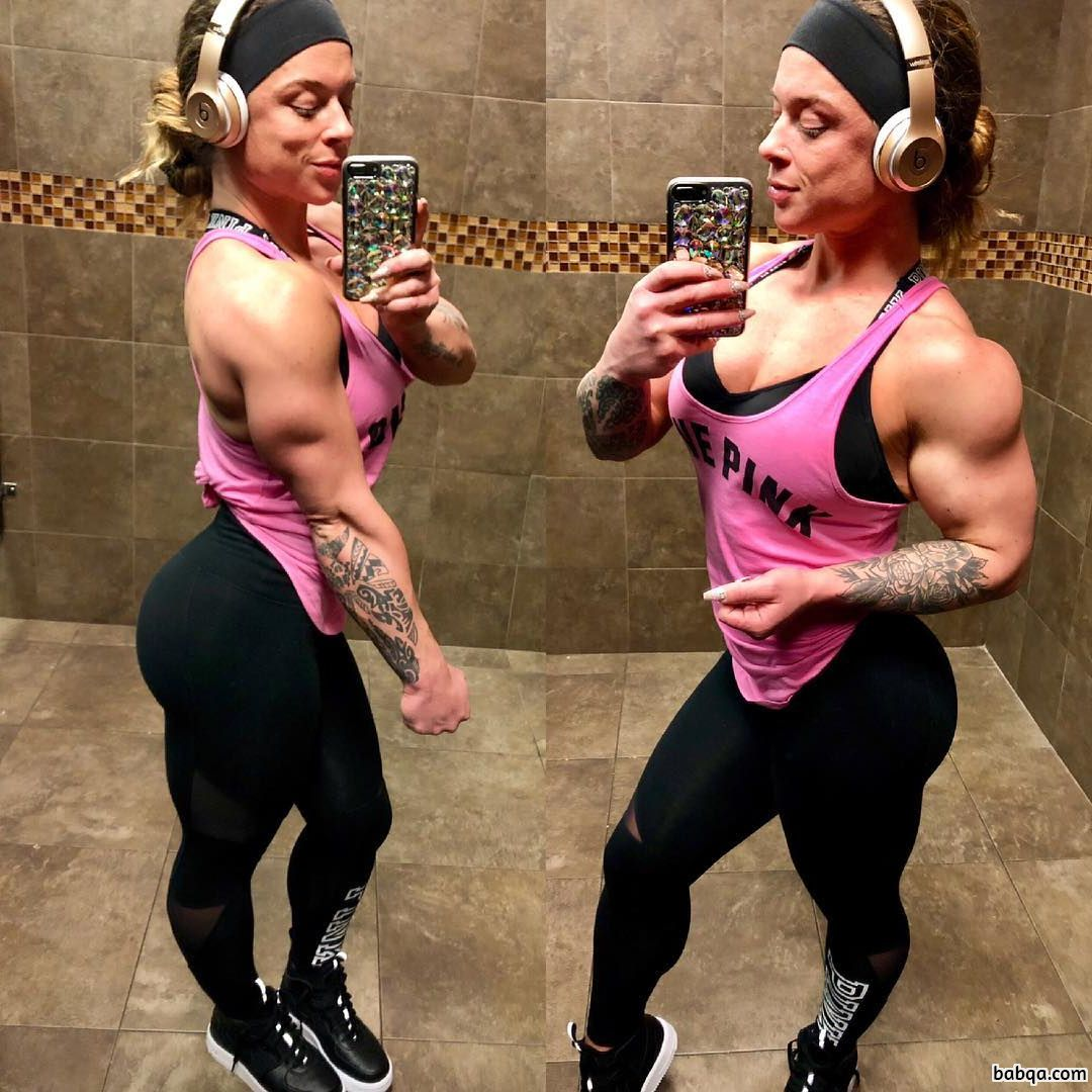sexy female bodybuilder with muscular body and toned booty image from insta