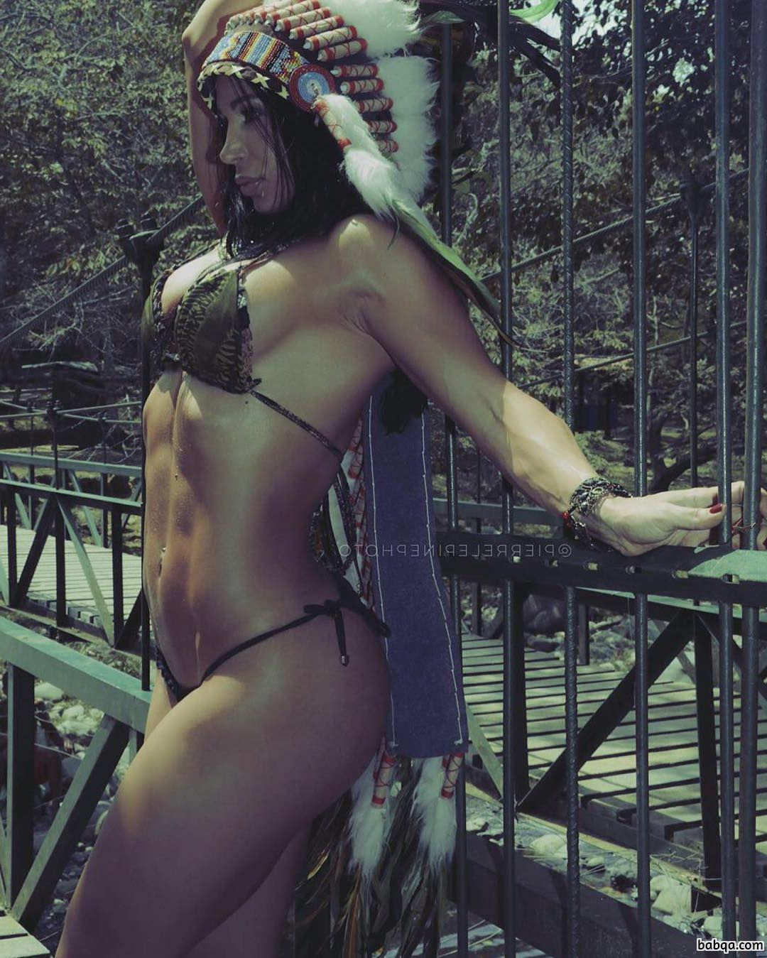hot female bodybuilder with strong body and toned arms picture from g+