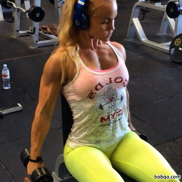 hot babe with fitness body and muscle biceps repost from tumblr