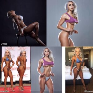 cute female with muscle body and muscle biceps pic from g+