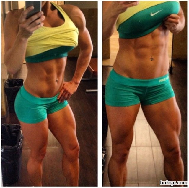 cute babe with muscular body and muscle biceps image from reddit