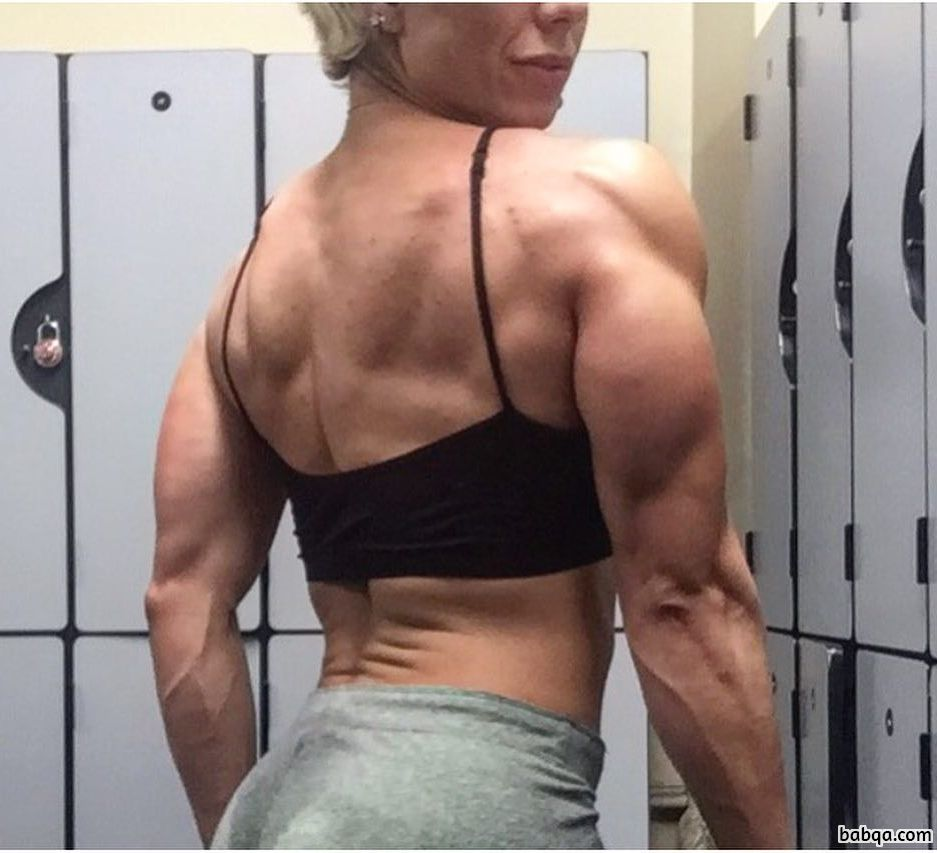 perfect female with fitness body and muscle biceps photo from instagram