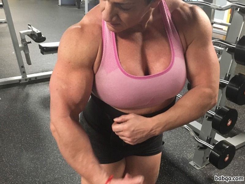 perfect female with muscular body and muscle arms post from facebook
