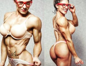 beautiful girl with fitness body and muscle biceps post from g+