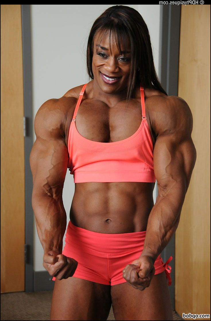 sexy female bodybuilder with fitness body and toned biceps repost from reddit