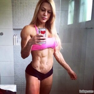 sexy female with strong body and toned biceps picture from instagram