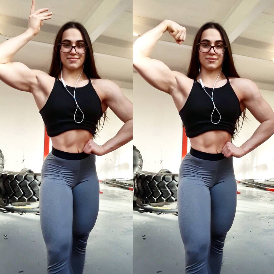 cute girl with muscle body and muscle biceps image from instagram